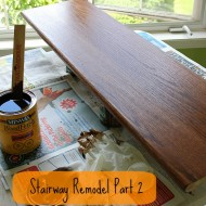 Stairway Remodel Part 2: Sanding and Staining Stair Treads and Rails