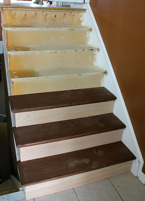Stairway Remodel Part 3 Installing New Stair Treads And Risers The Cookie Writer