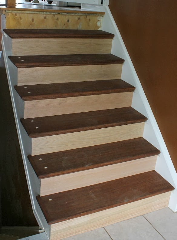 Time To Put The Old Spindles Back In. But Wait! Since We Added New Treads,  We Have Added An Extra Inch Or So Onto Our Stair Case Steps.