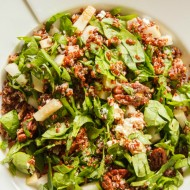 Red Quinoa Salad with Goat Cheese, Asian Pear, and Spiced Pecans