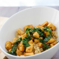 Sweet and Tangy Tofu with Greens over Quinoa