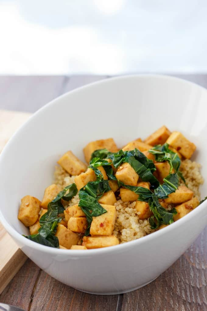Sweet and Tangy Tofu with Greens over Quinoa #tofu
