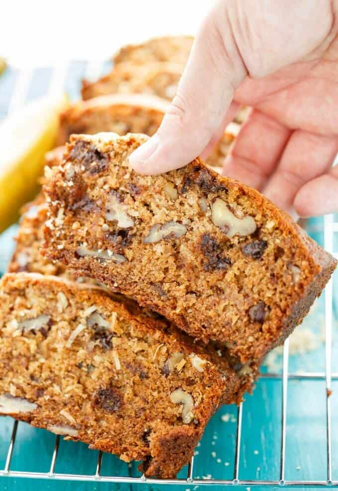 Chocolate Chip Banana Bread with Coconut and Nuts #bread
