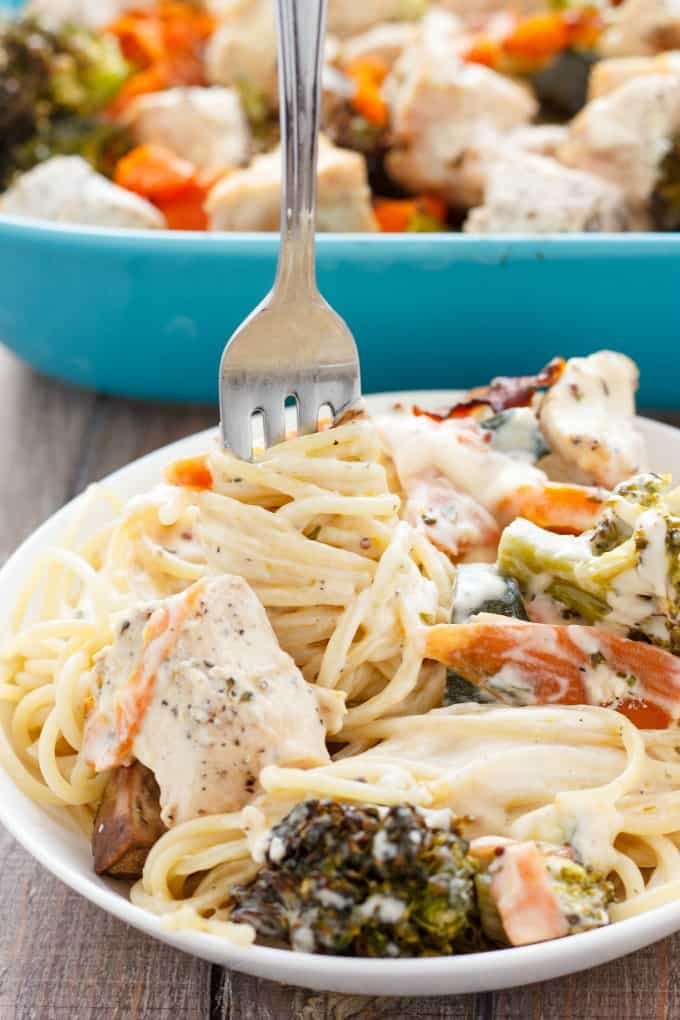 Chicken Fettuccine Alfredo with Veggies #pasta