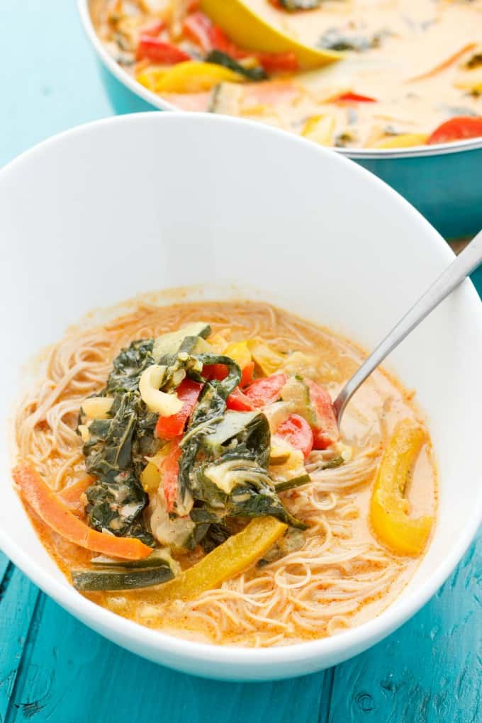Coconut Curry Soup over Vermicelli Rice Noodles #healthy
