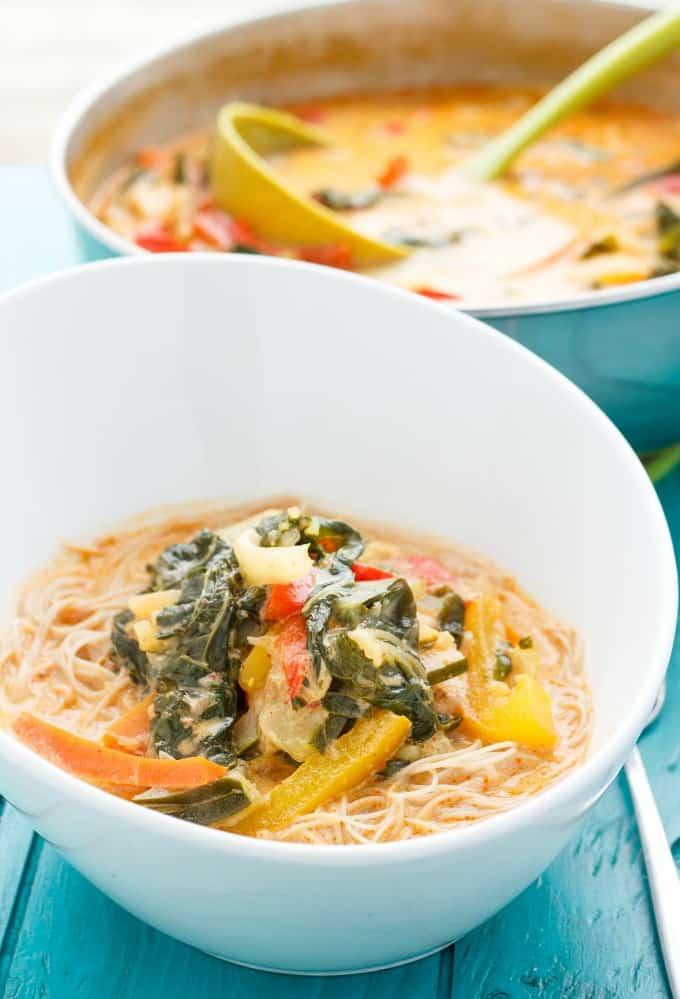Coconut Curry Soup over Vermicelli Rice Noodles #soup
