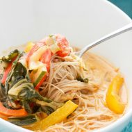 Coconut Curry Soup over Vermicelli Rice Noodles