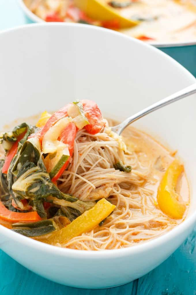 Coconut Curry Soup over Vermicelli Rice Noodles The