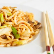 Fried Udon Noodles with Mushrooms and Cabbage