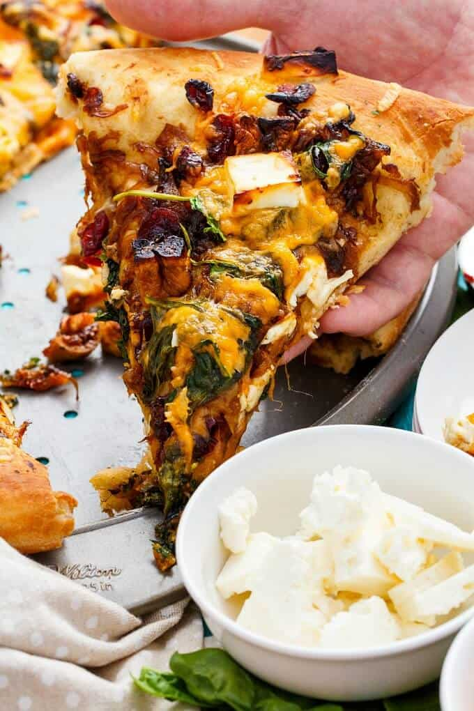 Caramelized Onion Dried Fig Pizza with Feta