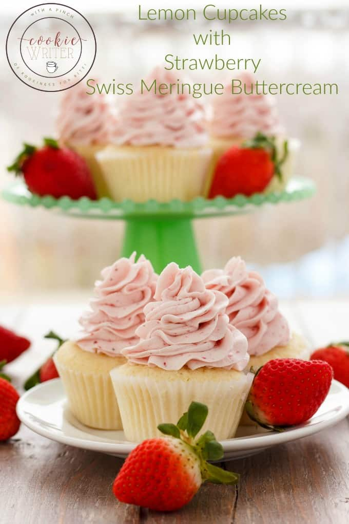 Lemon Cupcakes with Strawberry Swiss Meringue Buttercream