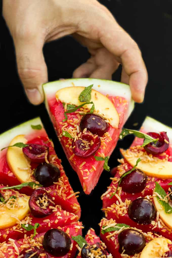 Healthy Vegan Watermelon Pizza Dessert 4