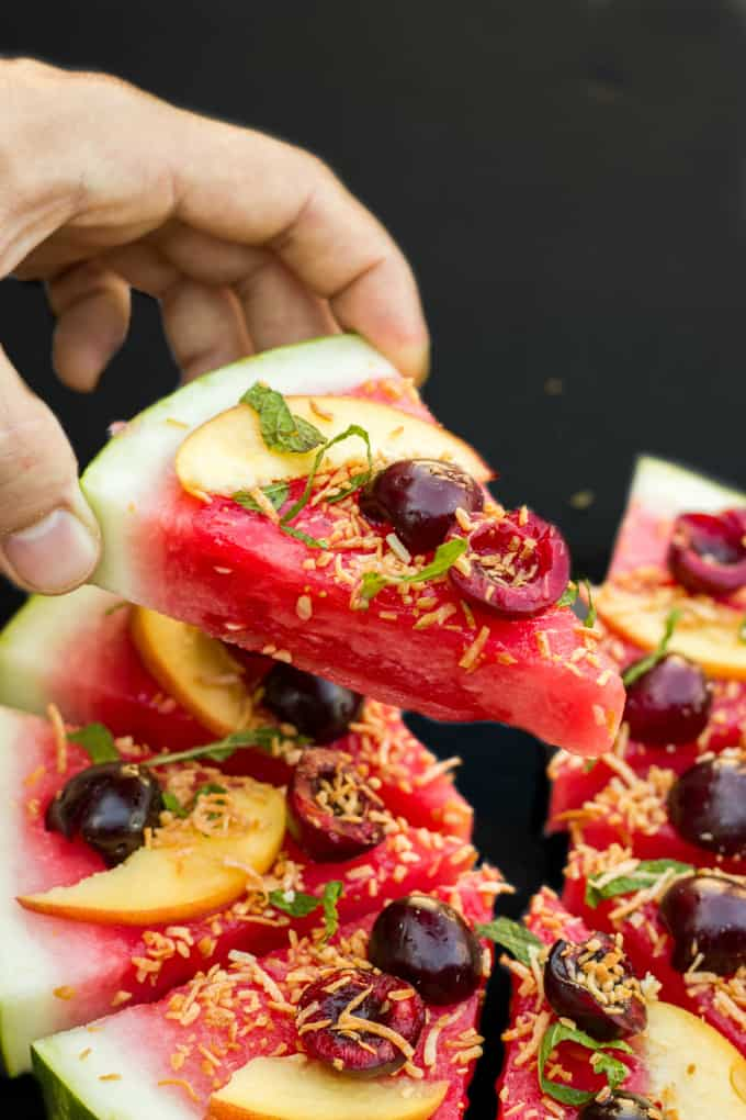 Healthy Vegan Watermelon Pizza Dessert 5