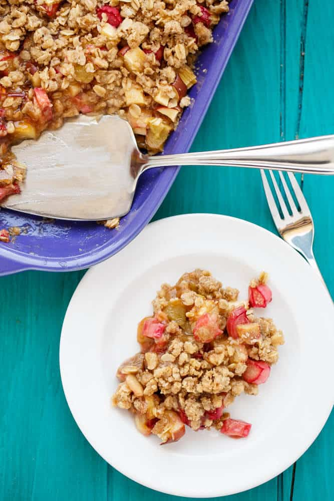 Rhubarb Crumble Brown Betty #vegetarian