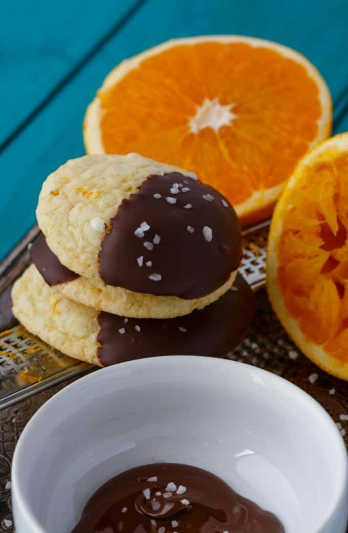 Chocolate Dipped Orange Cookie Crinkles