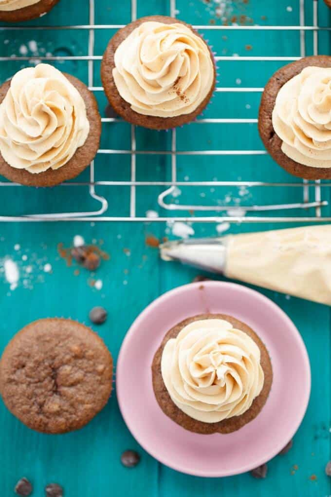 Gluten-Free Chocolate Cupcakes with Peanut Butter Frosting #chocolate
