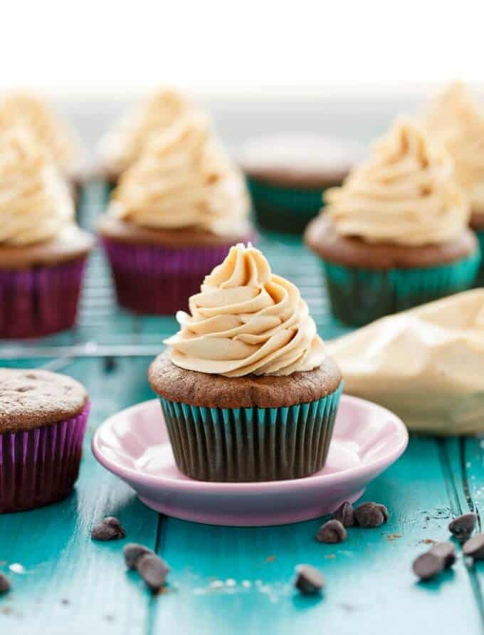 Gluten-Free Chocolate Cupcakes with Peanut Butter Frosting #glutenfree