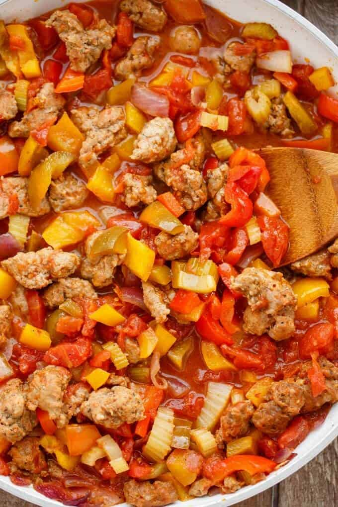 Sausage and Peppers over Rice #sauce