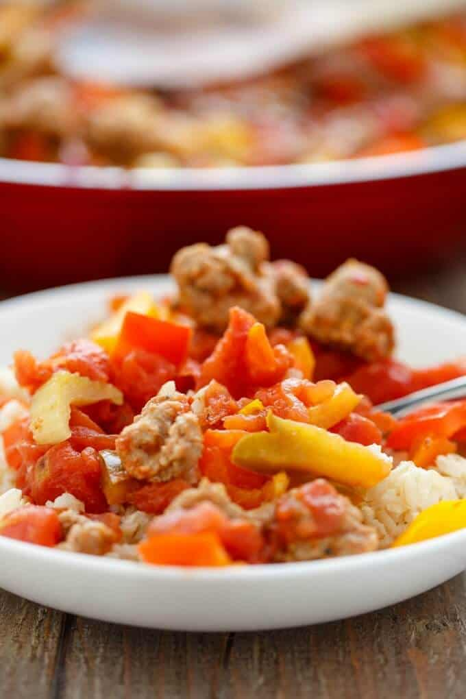 Sausage and Peppers over Rice #sausage