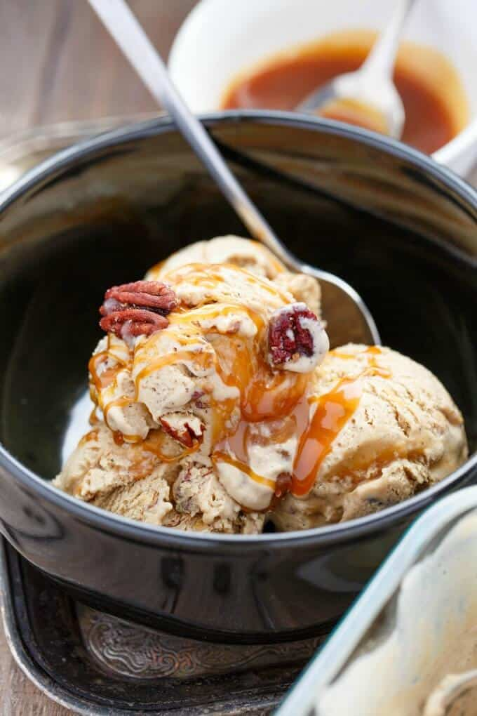 Coffee Ice Cream with Toasted Pecans and a Caramel Swirl #coffee