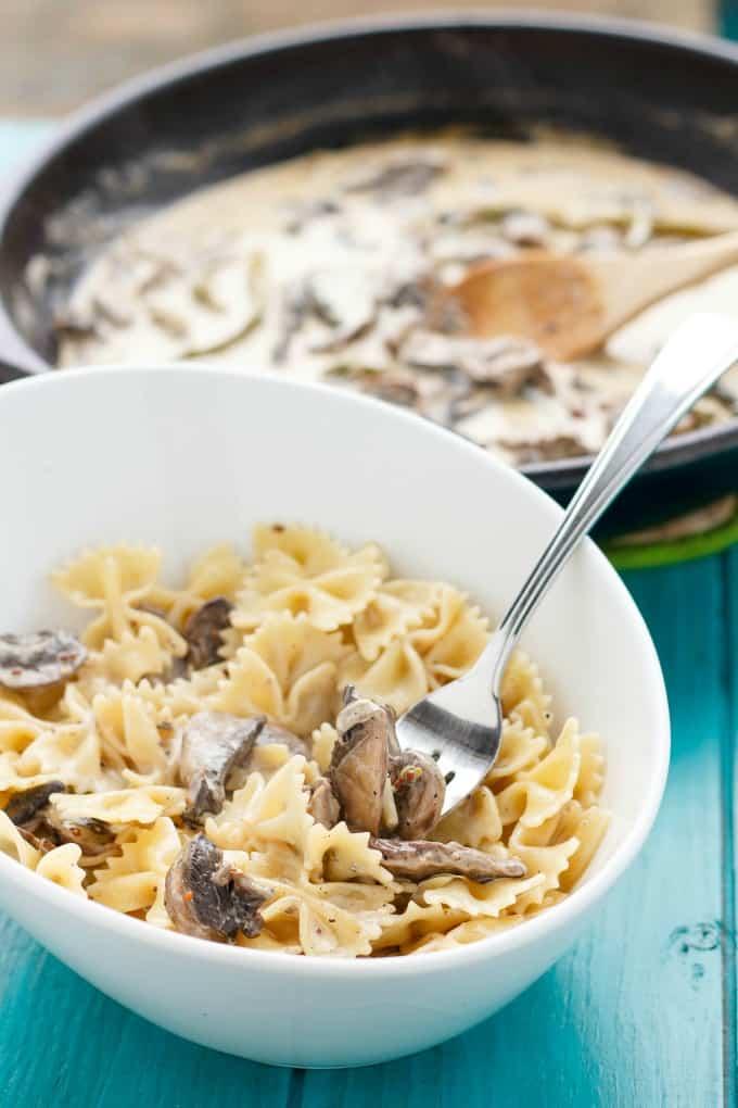 Portobello Mushroom Pasta with Cream Sauce #glutenfree