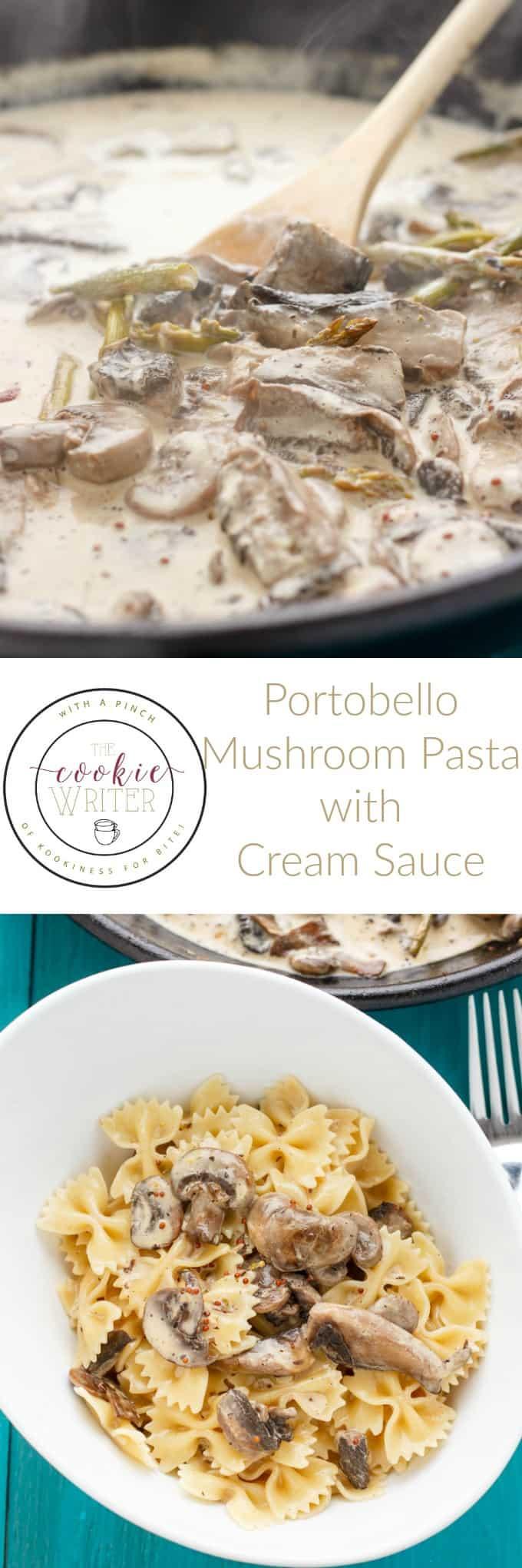 Portobello Mushroom Pasta with Cream Sauce #pasta