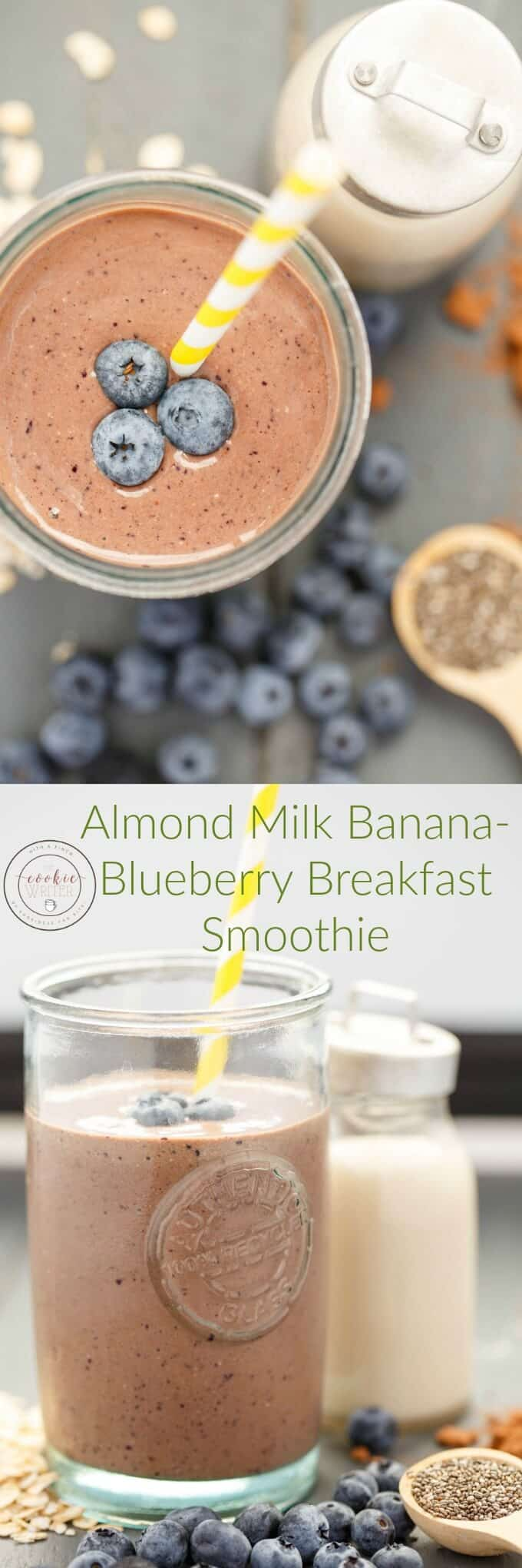Almond Milk Banana-Blueberry Breakfast Smoothie