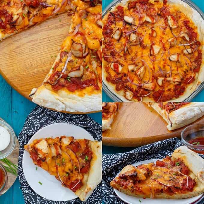 BBQ Chicken Pizza with Mushrooms and Onions