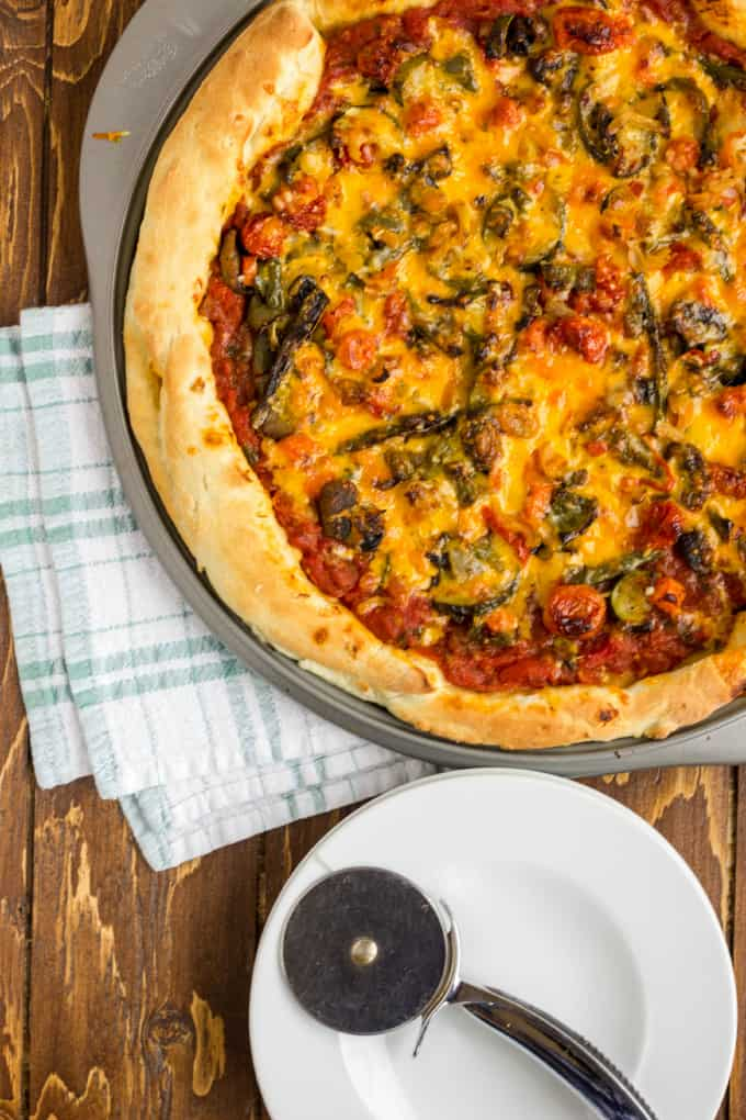 Roasted Vegetable Pizza with Ghost Pepper Sauce - The Cookie Writer