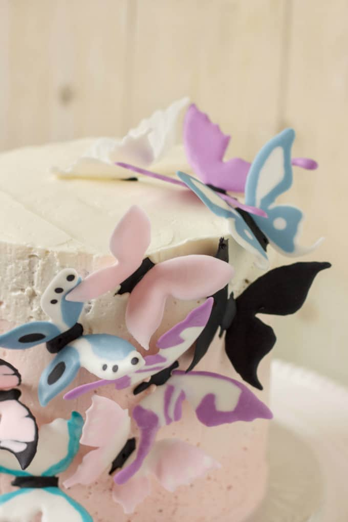Pink Ombre Cake with Royal Icing Butterflies 10
