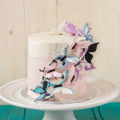 Pink Ombre Cake with Royal Icing Butterflies