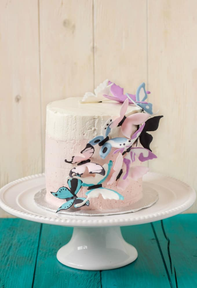 Pink Ombre Cake with Royal Icing Butterflies 1