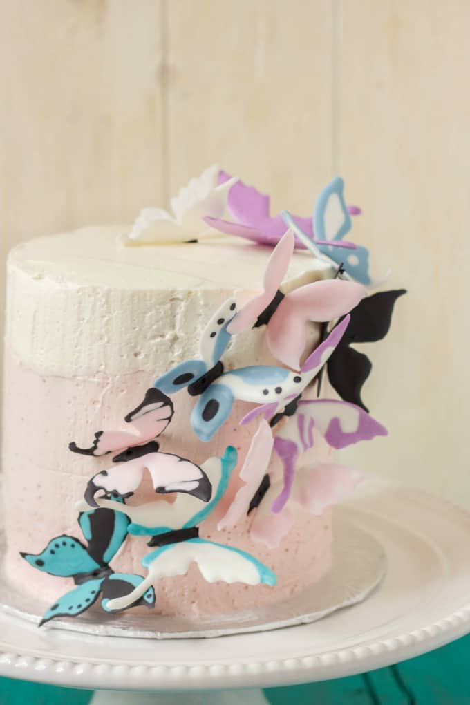 Pink Ombre Cake with Royal Icing Butterflies 2