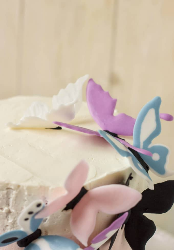 Pink Ombre Cake with Royal Icing Butterflies 3