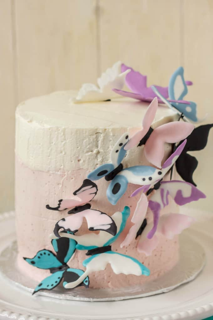Pink Ombre Cake with Royal Icing Butterflies 5