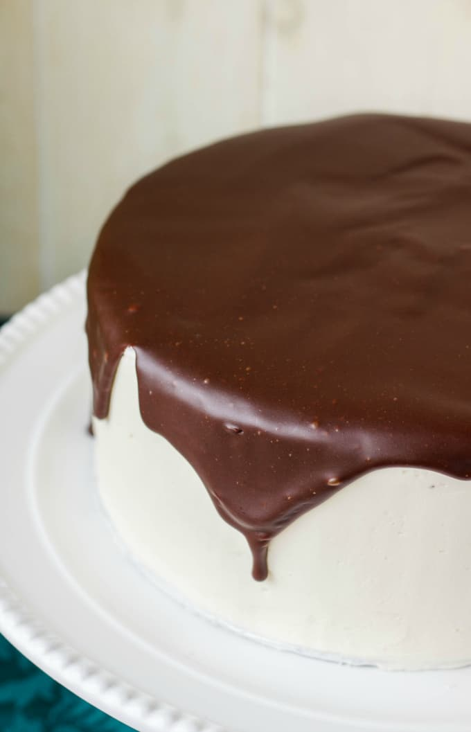 Chocolate Cake covered in Chocolate Ganache Glaze - The Cookie Writer