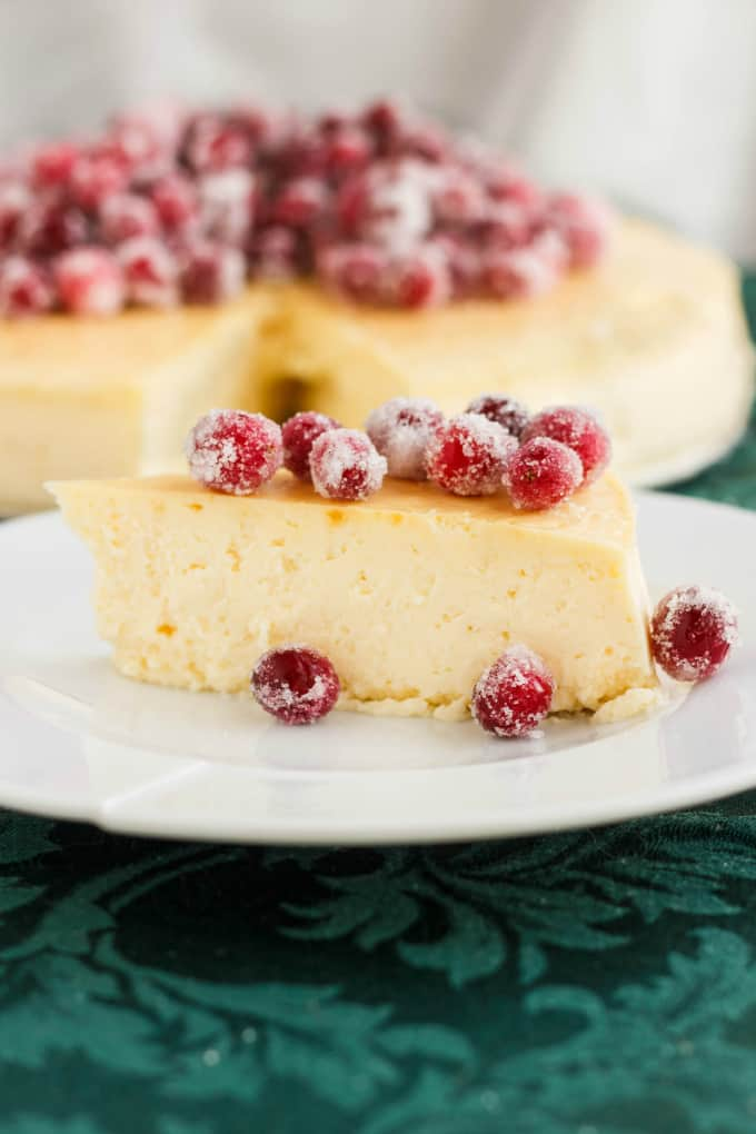 Crust-Less Lemon Cheesecake with Candied Cranberries 5
