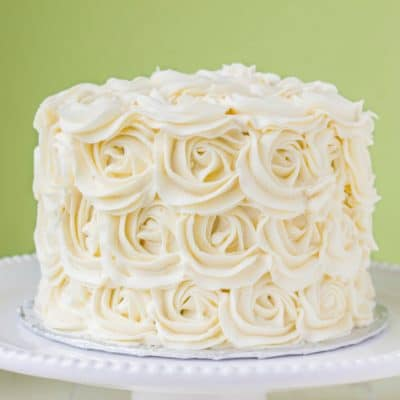 Red Velvet Cake with Vanilla Buttercream Rosettes