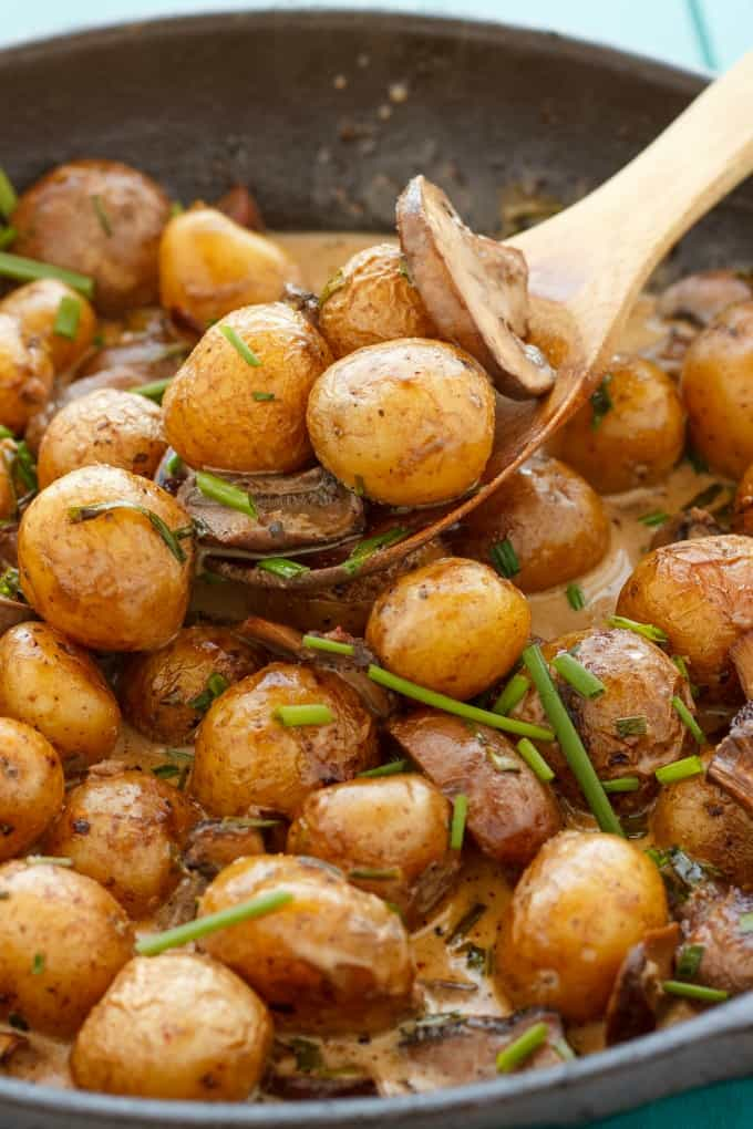 Roasted Baby Potatoes in a Homemade Mushroom Sauce #mushrooms