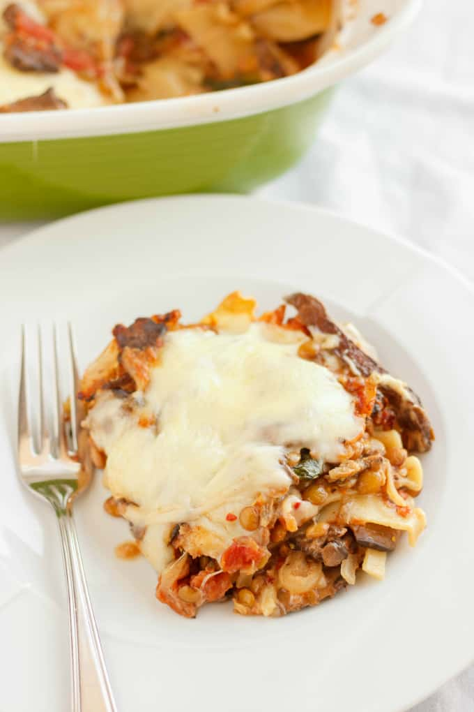 Lentil Lasagna in a Roasted Portobello Cream Sauce 4