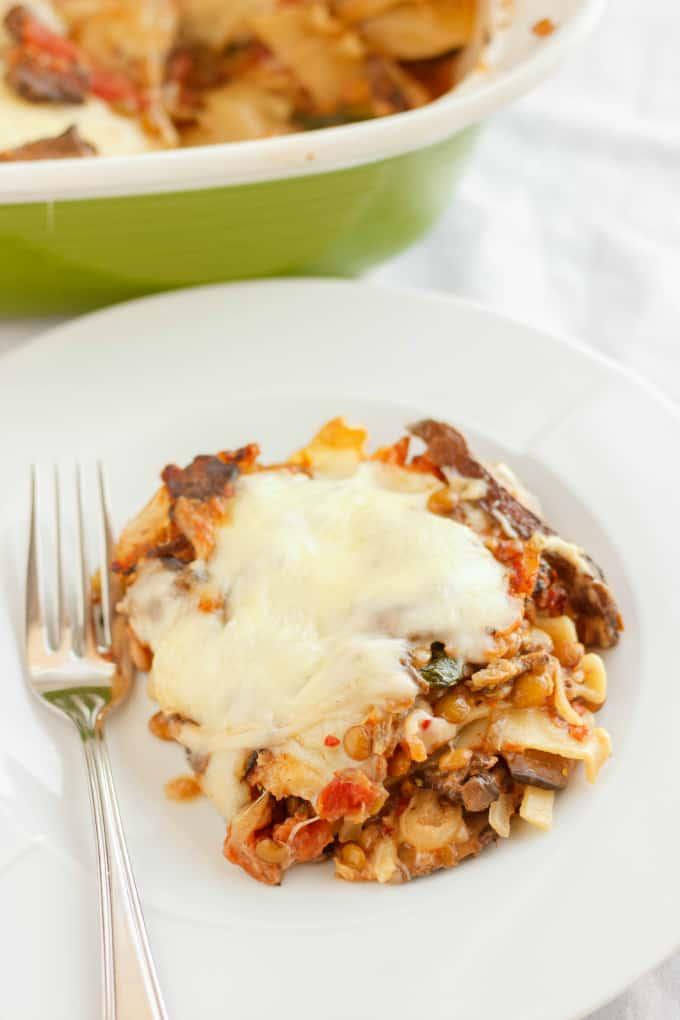 Lentil Lasagna in a Roasted Portobello Cream Sauce 4