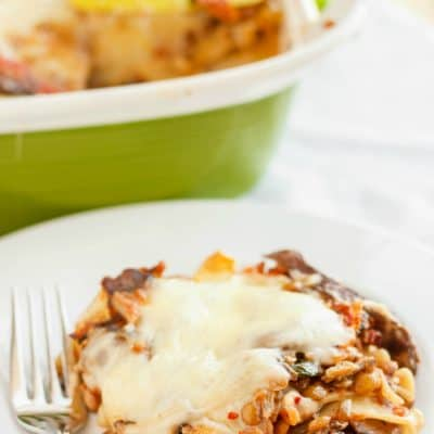 Lentil Lasagna in a Roasted Portobello Cream Sauce