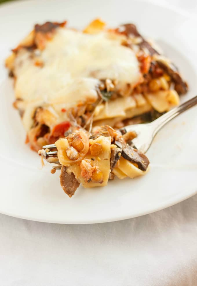 Lentil Lasagna in a Roasted Portobello Cream Sauce 9