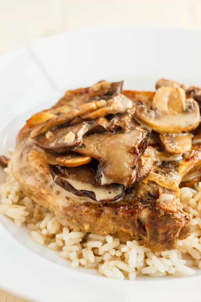Pork Loin Chops in a Creamy Mushroom Sauce - The Cookie Writer