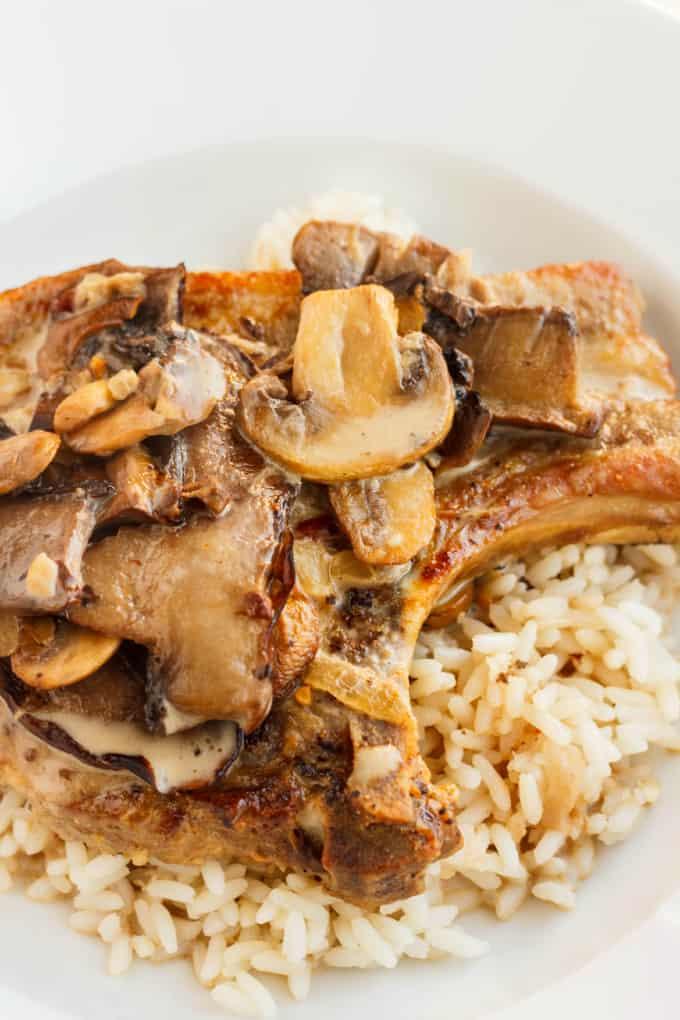 Pork Loin Chops in a Creamy Mushroom Sauce - The Cookie Writer