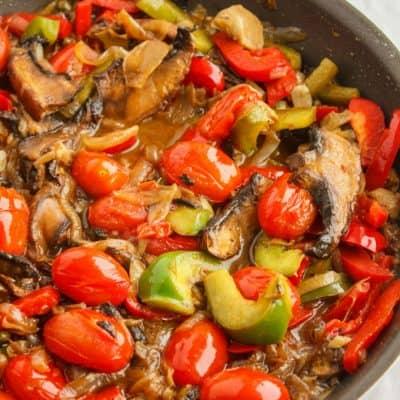 Artichoke Hearts, Caramelized Onions and Roasted Portobello Mushroom Pasta