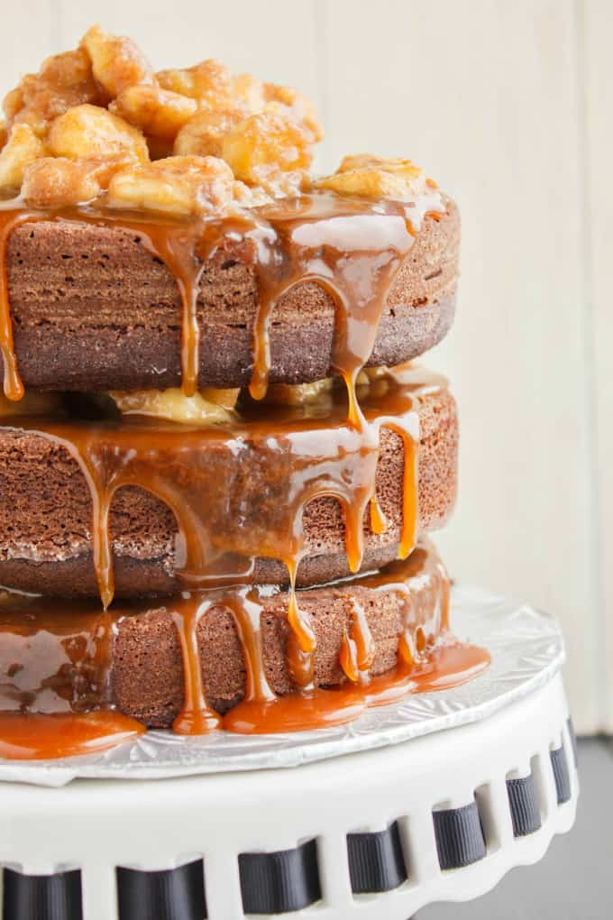 Naked Chocolate Cake with Cinnamon-Rum Bananas and Caramel Sauce 2
