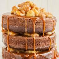 Naked Chocolate Cake with Cinnamon-Rum Bananas and Caramel Sauce