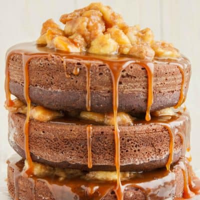 Naked Chocolate Cake with Cinnamon-Rum Bananas and Caramel Sauce