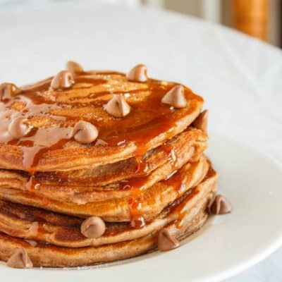 Salted Caramel Hot Chocolate Pancakes